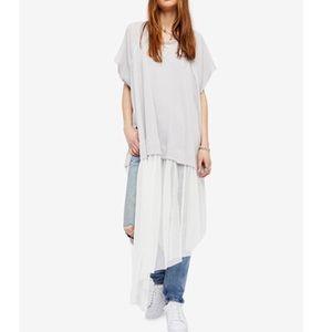 Free People asymmetric long lace dress shirt